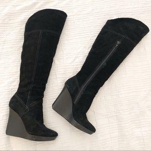 Nine West Black Suede Over Knee/Knee High Boot 8.5